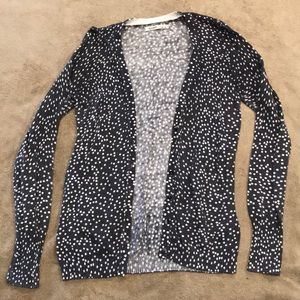 Solid gray cardigan with white spots